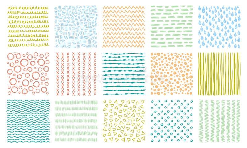 Hand drog texturer Klottra modellen, krökta linjer modeller och den fodrade uppsättningen för texturvektorbakgrund vektor illustrationer