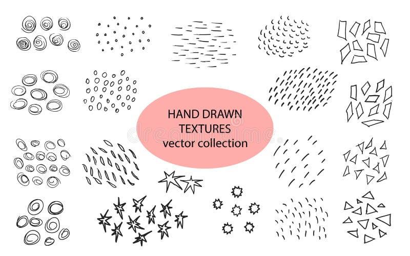 Hand drog texturer, mall den l?tta designen redigerar element till vektorn Ställ in av bakgrundstextur, punkter, slaglängder, cir royaltyfri illustrationer