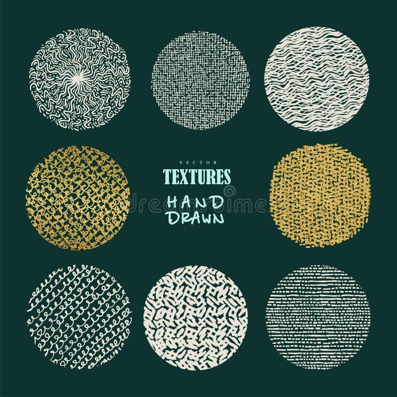 Hand drog texturer och borstar Konstnärlig samling av design e royaltyfri illustrationer