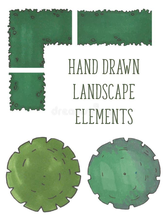 Hand drog trädöverkant, träd och buskar, vektor vektor illustrationer