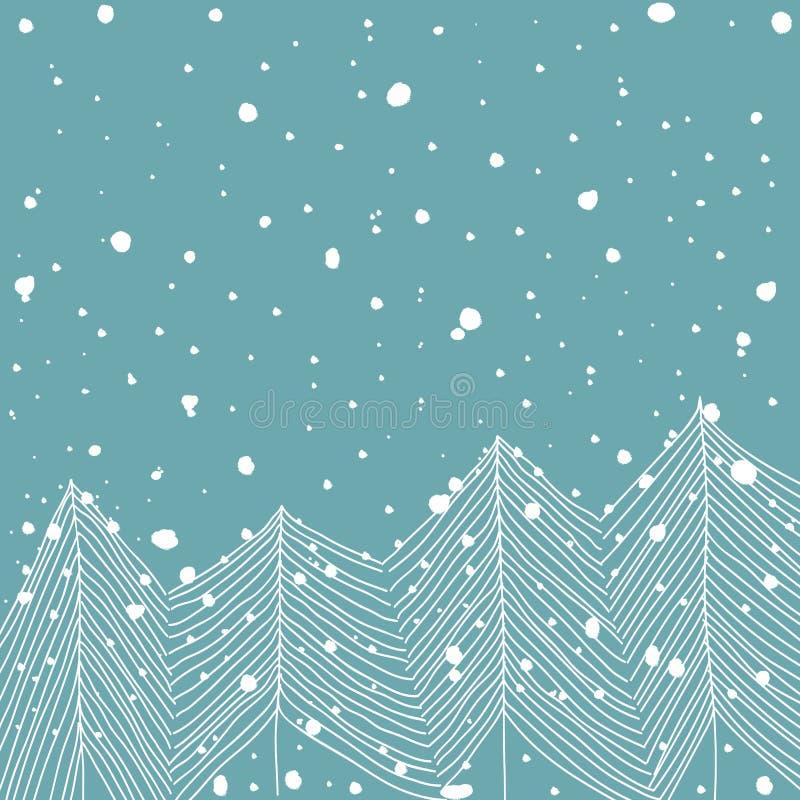 Hand drog träd för vit gran för klotter i Forest Snowfall Baby Blue Background Abstrakt begrepp För julhälsning för nytt år kort stock illustrationer
