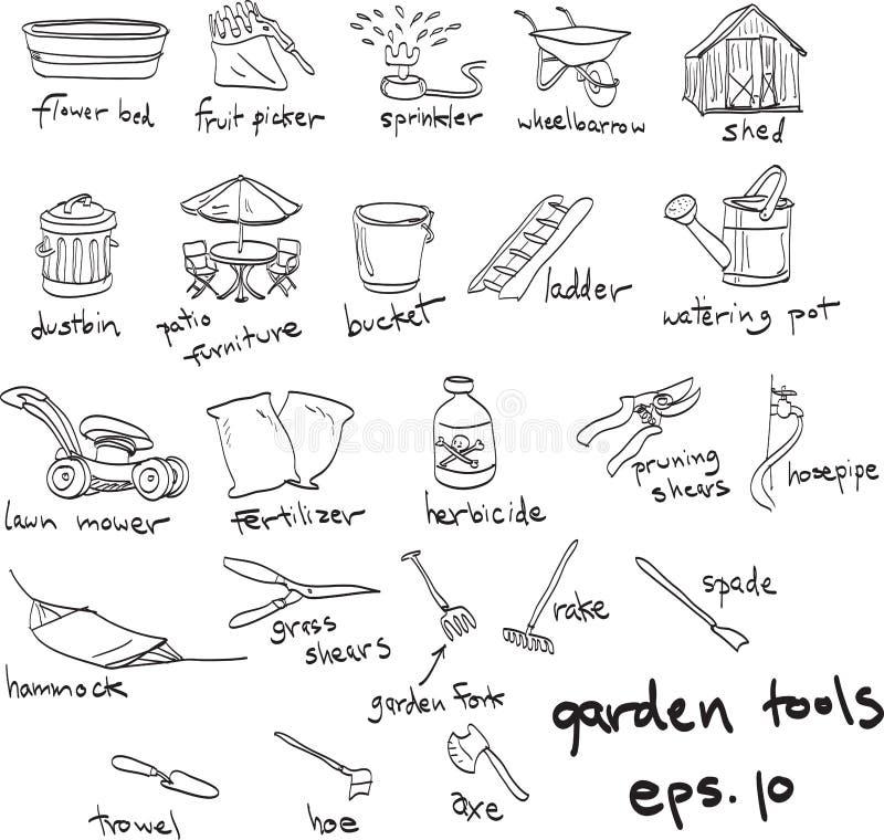 Hand drog trädgårds- hjälpmedel, klotter royaltyfri illustrationer