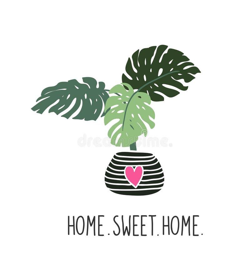 Hand drog tropiska husväxter Skandinavisk stilillustration Vektortryckdesign med bokstäver - för sötsakhem för ` hem- `, vektor illustrationer