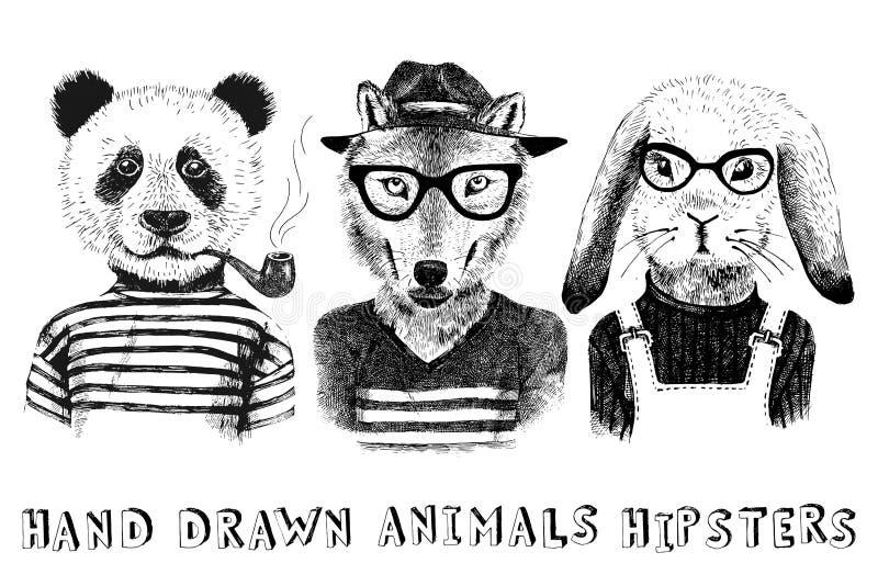 Hand drog utklädda djur i hipsterstil