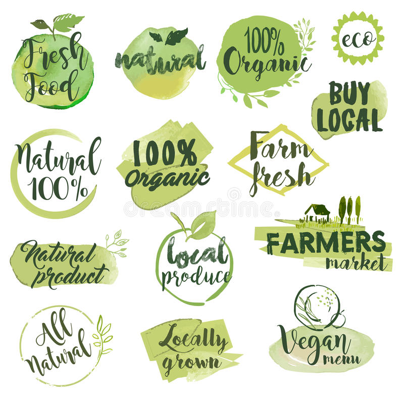 Hand drog vattenfärgetiketter och emblem för organisk mat stock illustrationer