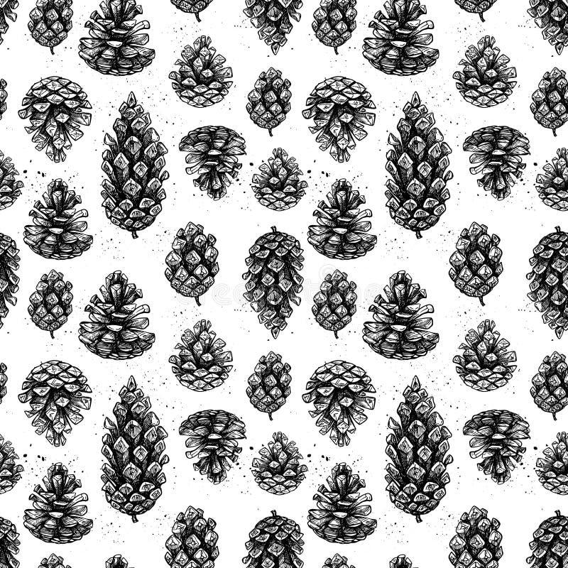 Hand drog vektorillustrationer Den sömlösa modellen med sörjer kottar stock illustrationer