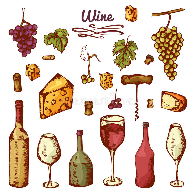 Hand drog vinbeståndsdelar Uppsättning av vektorsymboler: flaska, ost, druvor, vinglas och etc. stock illustrationer