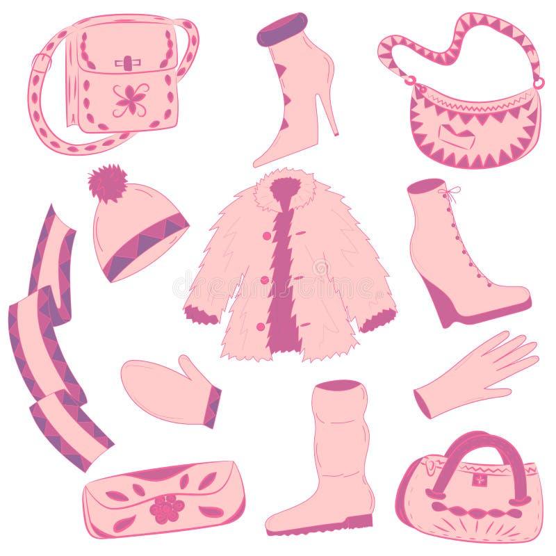 Hand drog vinterkläder och handväskor Glamorösa rosa färgskor på laget för hög häl, halsduk-, tumvante-, handske- och päls vektor illustrationer