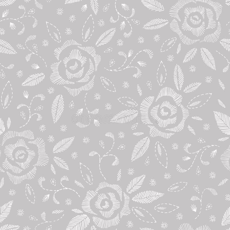 Hand drog vita rosor som efterapar broderihäftklammer, på den Grey Background Floral Vector Seamless modellen stock illustrationer