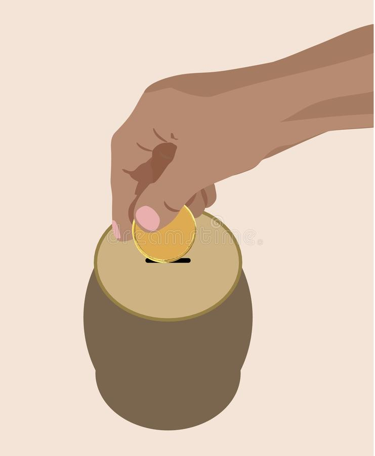Hand dropping putting golden coin in saving cash box Piggy Bank clean vector illustration finance money concept royalty free illustration