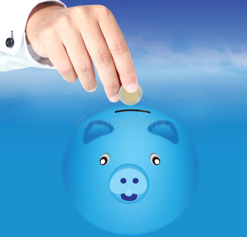 Download Hand drops piggy bank stock illustration. Illustration of dollar - 25363663