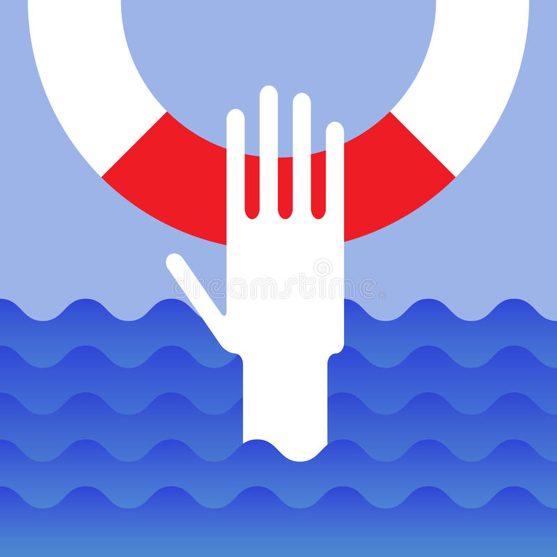 Hand of drowning man. With lifebuoy royalty free illustration