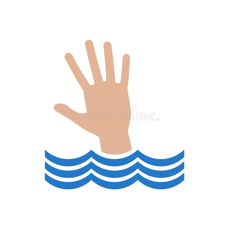 Hand drowning in water stock illustration