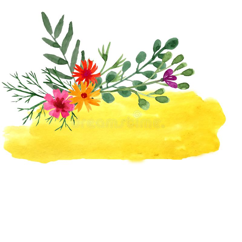 Hand drowning watercolor yellow template with wild flowers stock illustration