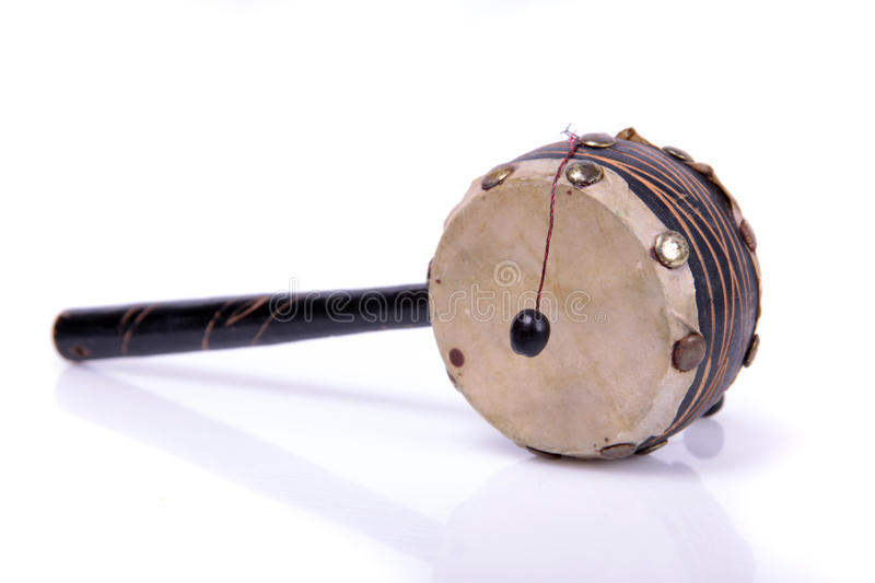 Hand drum. An old ceremonial Chinese hand drum on a white background royalty free stock photos