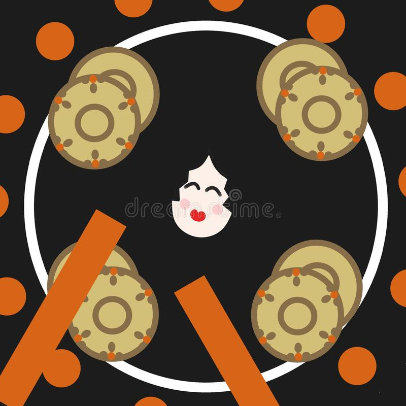 A hand drum (used in traditional Japanese music) stock illustration