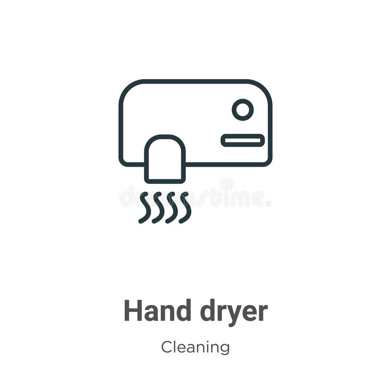 Hand dryer outline vector icon. Thin line black hand dryer icon, flat vector simple element illustration from editable cleaning. Concept isolated on white stock illustration