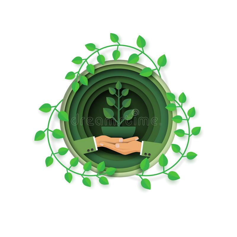 Hand with eco and environment concept stock illustration