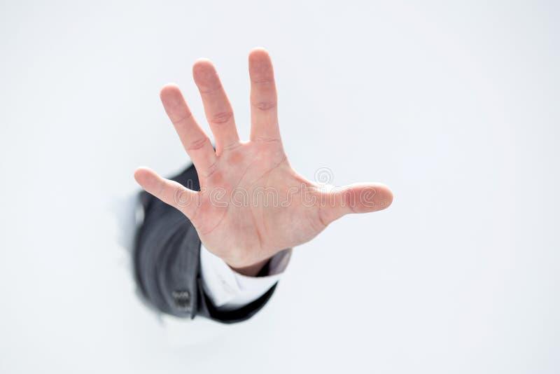 Hand einer Geschäftsmannvertretungsendgeste lizenzfreie stockfotografie