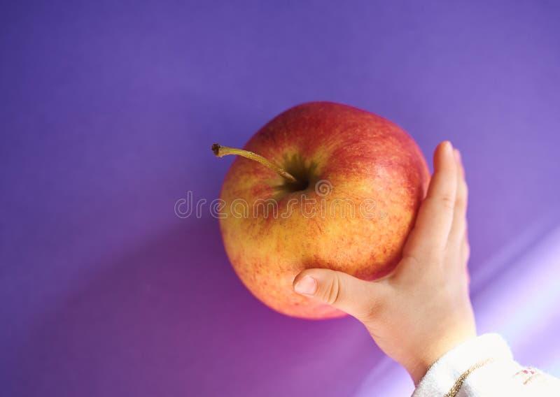 Hand eines Babys, das einen Apfel von einer Tabelle ergreift stockbild