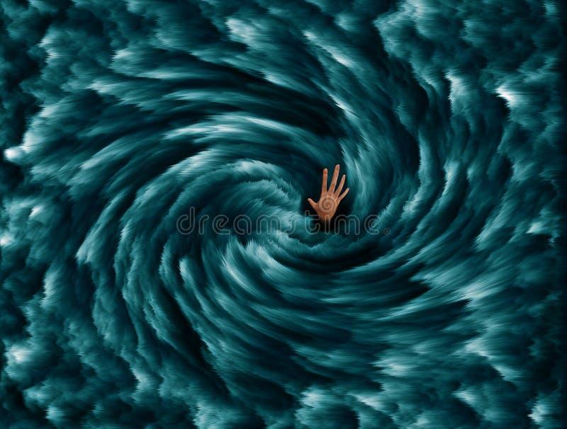 Mann ertrinkend, dehnen Sie heraus vom tiefen blauen Meer aus lizenzfreies stockbild