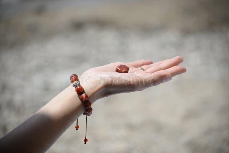 Hand eines Mädchens, das einen Seestein hält lizenzfreie stockfotografie