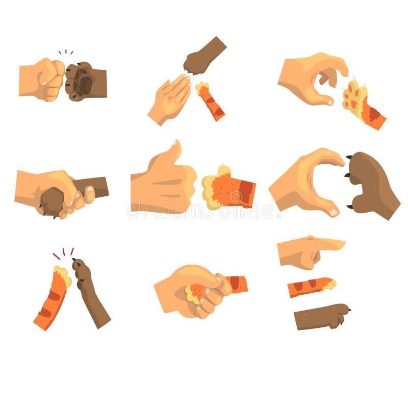 Hand eines Mannes, der Tiertatzensatz hält, Tier und Menschenhändedruck vector Illustrationen vektor abbildung