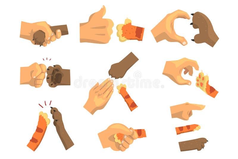 Hand eines Mannes, der Tiertatzensatz hält, Tier und Menschenhändedruck vector Illustrationen stock abbildung