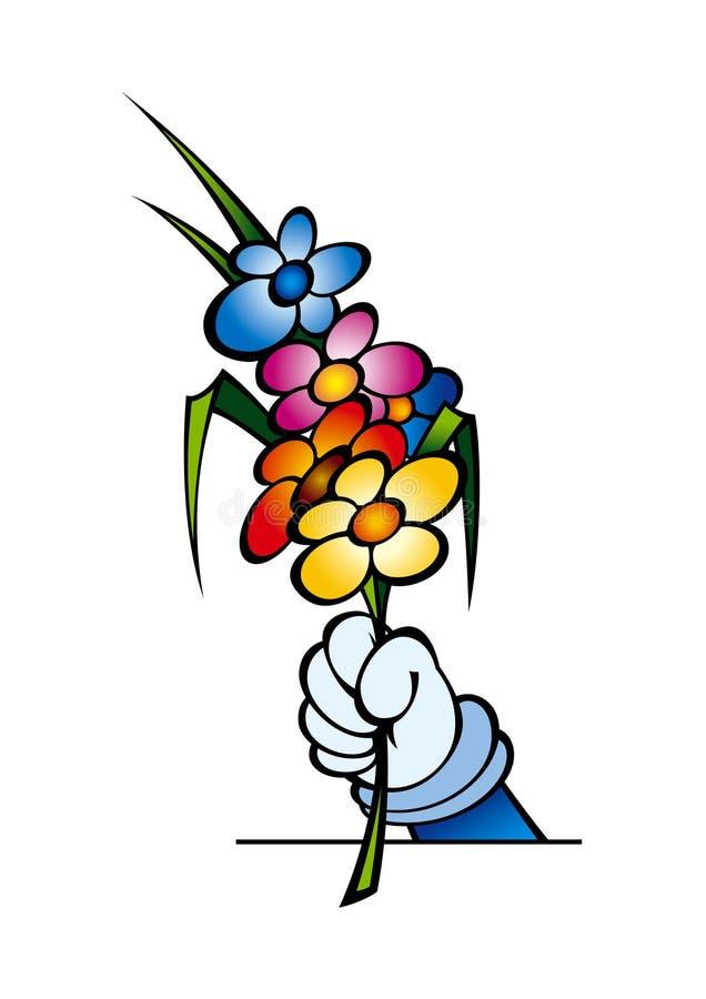 Hand en bloemen royalty-vrije illustratie