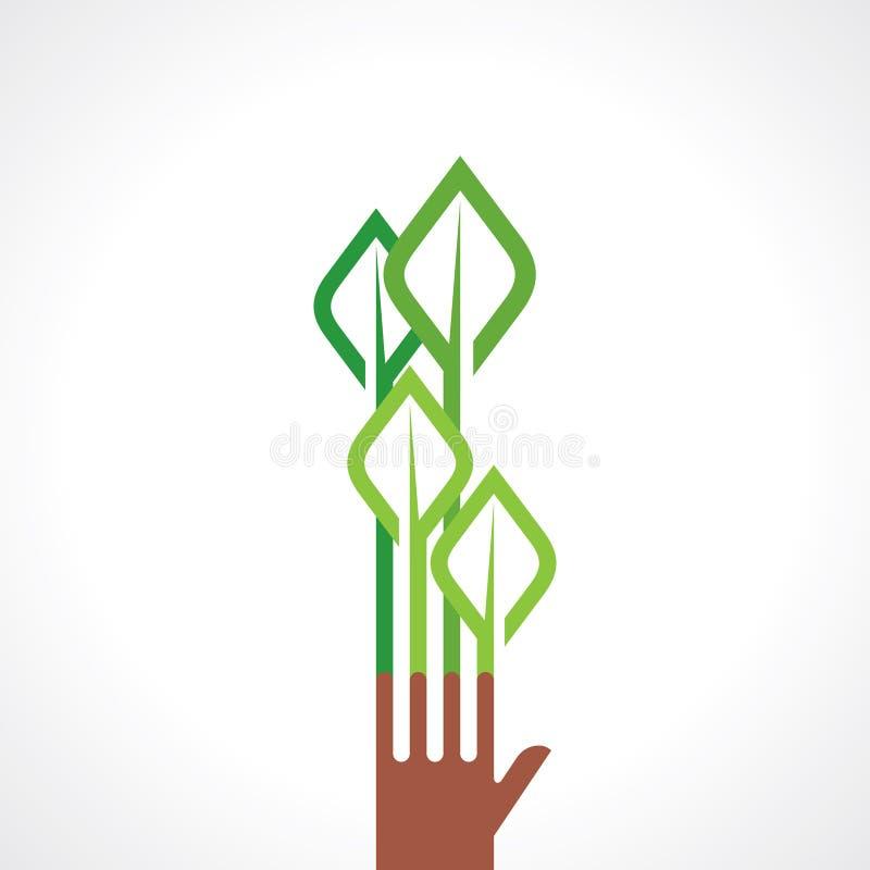 Hand en boom - Illustratie op witte achtergrond royalty-vrije illustratie