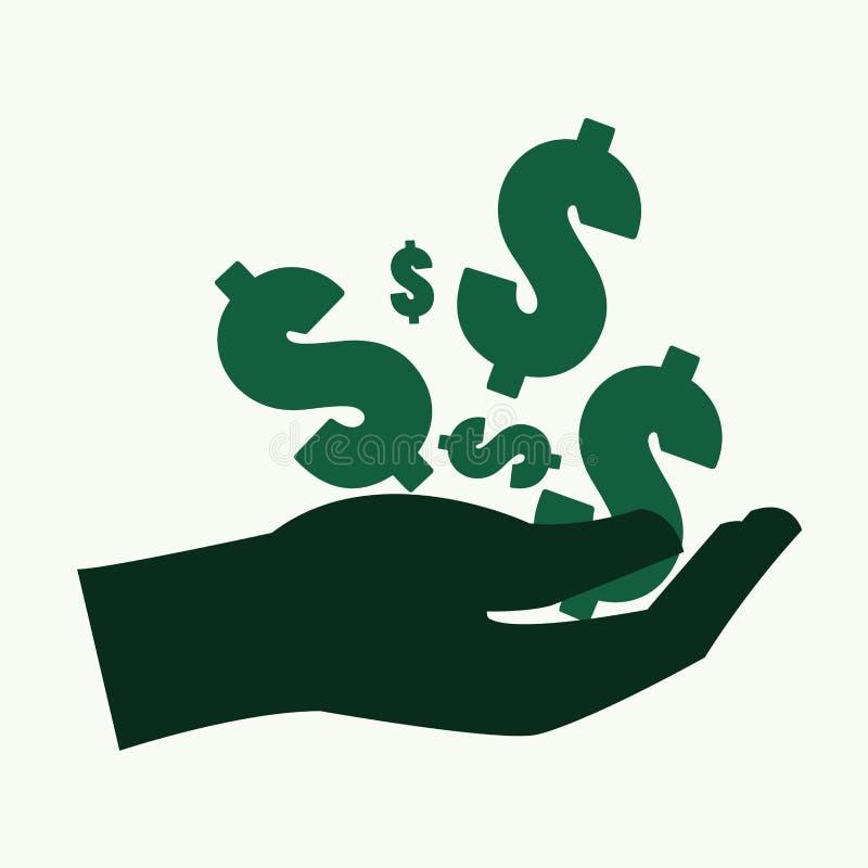 Hand en dollarsymbool met Geldconcept vector illustratie