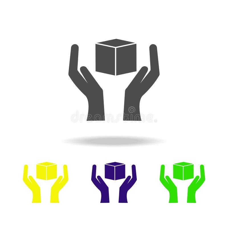 hand en doos multicolored pictogrammen Tekens en symboleninzamelingspictogram voor websites, Webontwerp, mobiele app op witte ach stock illustratie