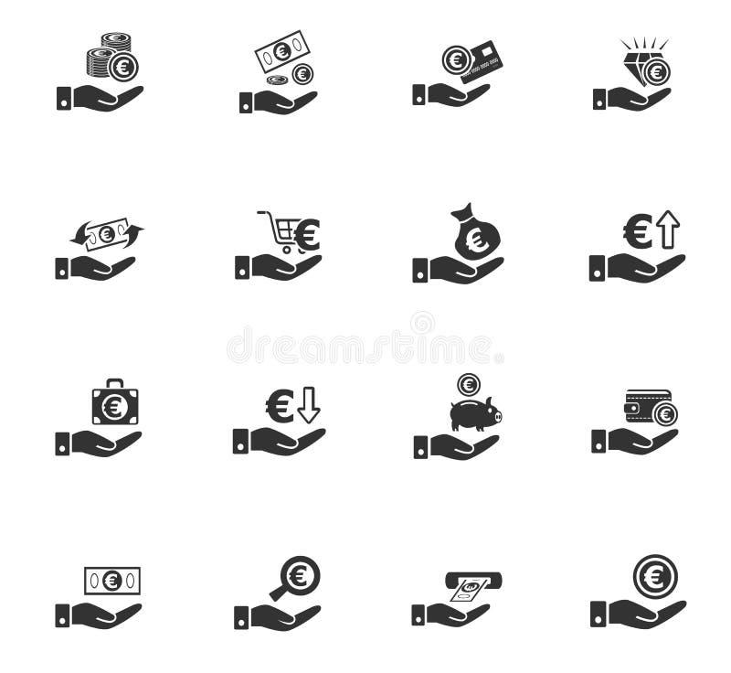Hand en geldpictogramreeks royalty-vrije illustratie