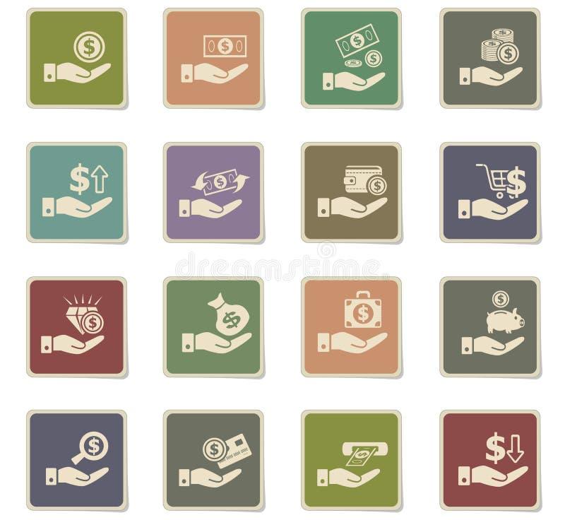 Hand en geldpictogramreeks vector illustratie