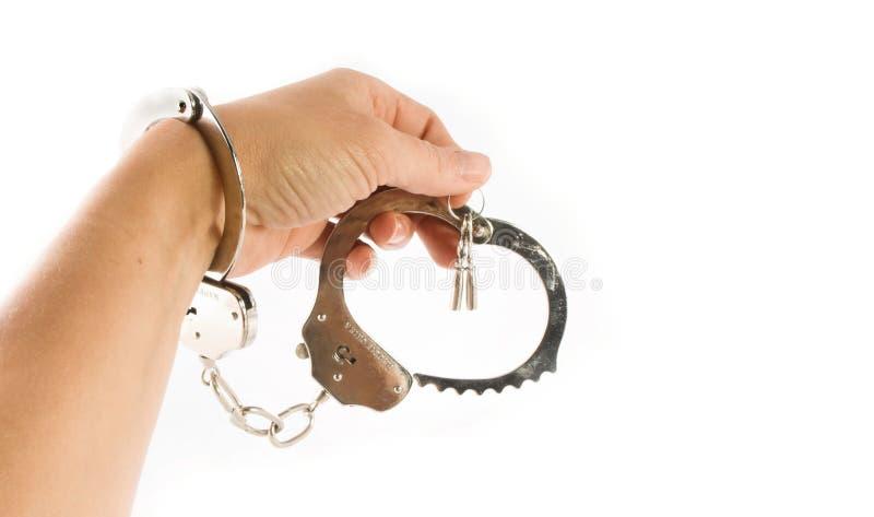 Hand en handcuffs stock foto's