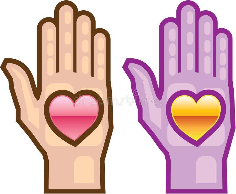 Hand en Hart vectorpictogram stock illustratie