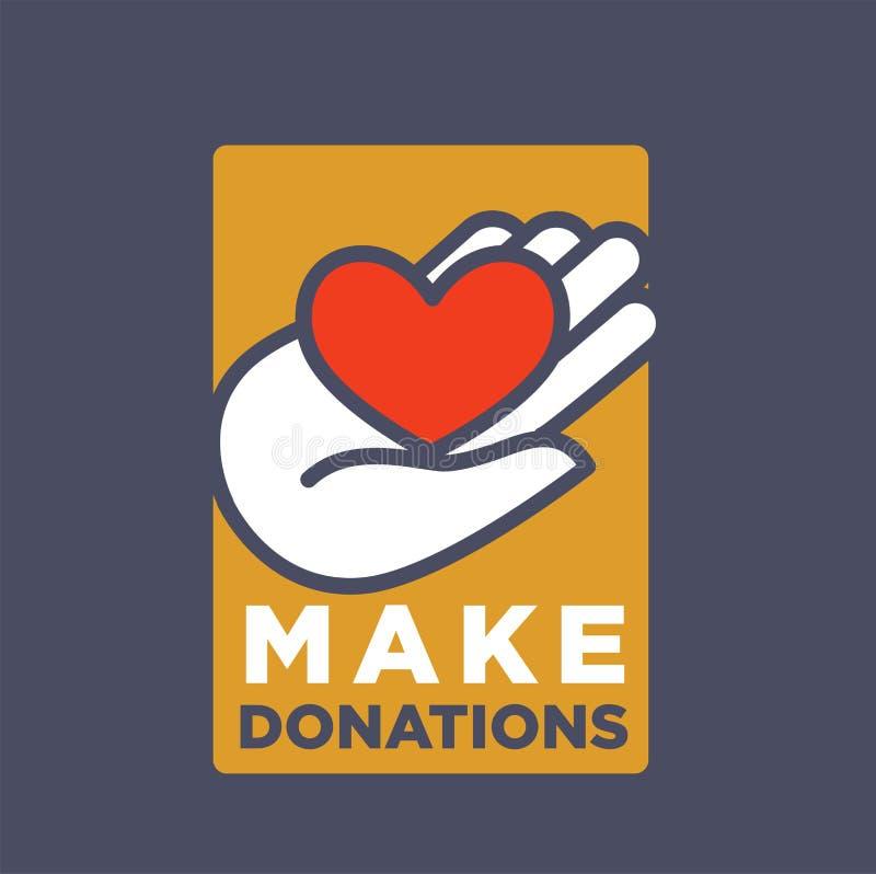 Hand en hartembleemmalplaatje voor sociale schenking en van de liefdadigheidsactie organisatie vector illustratie