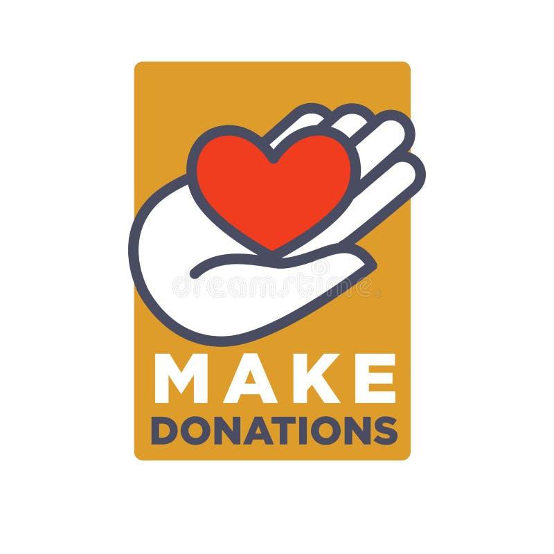 Hand en hartembleemmalplaatje voor sociale schenking en van de liefdadigheidsactie organisatie royalty-vrije illustratie
