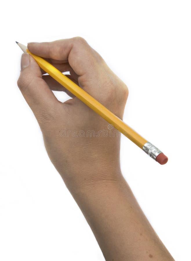 Hand en potlood stock afbeeldingen