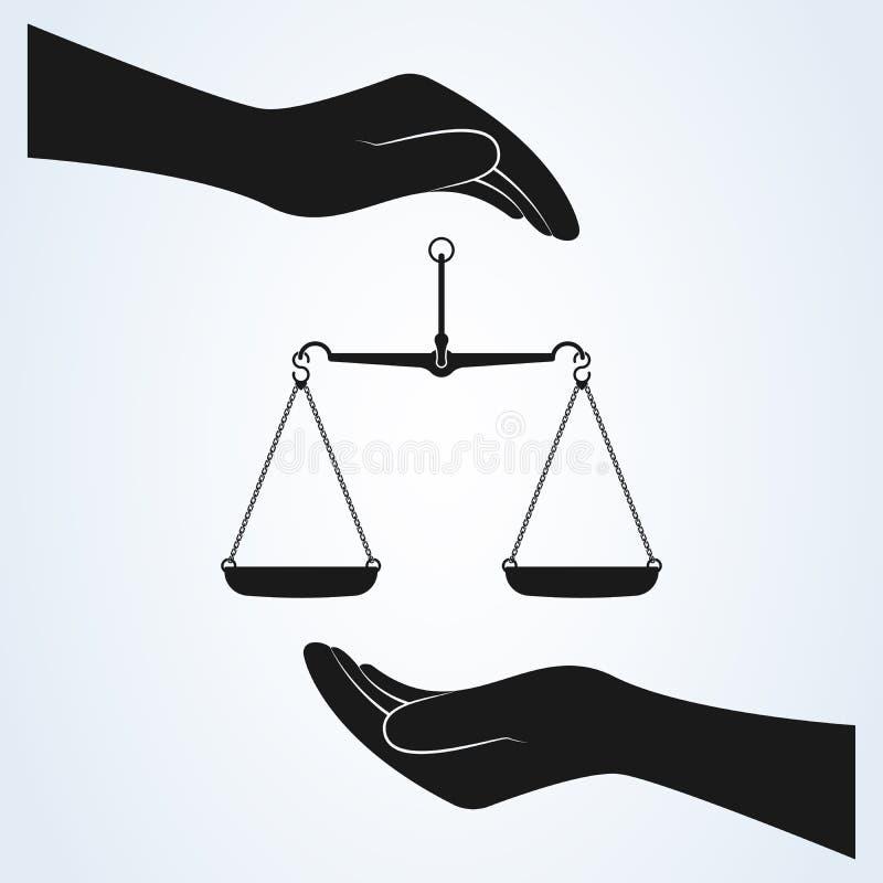 Hand en Schaal van de Vector van het Rechtvaardigheidspictogram Ge?soleerde achtergrond stock illustratie
