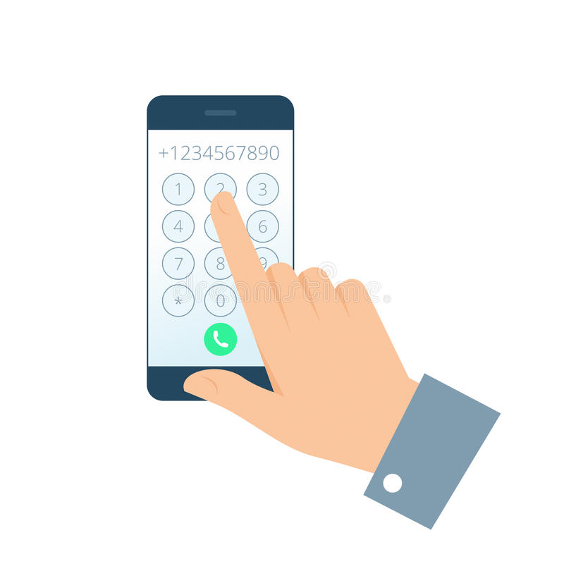 Hand en telefoon royalty-vrije illustratie
