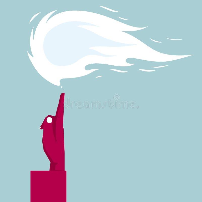 Hand en vlam vector illustratie