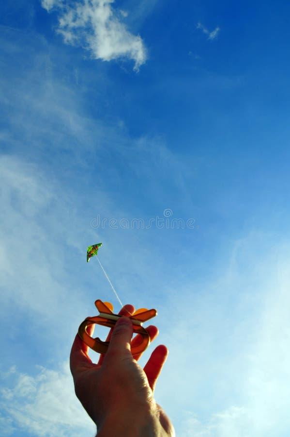 Hand en vlieger stock foto's