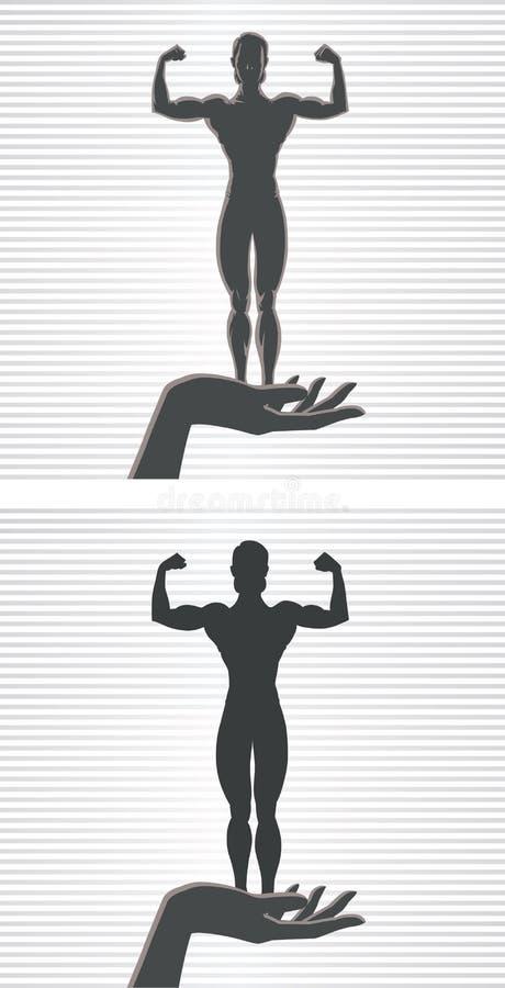 Hand en Vrouwelijke Bodybuilder vector illustratie
