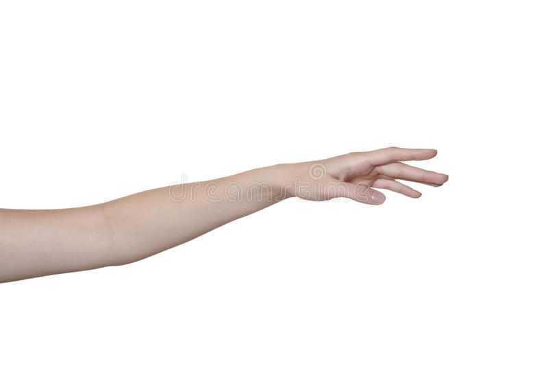 Hand en wapen dat op wit wordt geïsoleerdk stock afbeeldingen