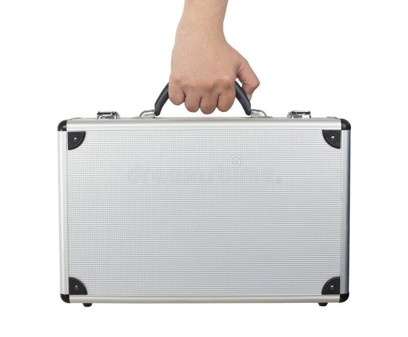 Hand en wapen zilveren bagage of kort die geval houden die op wh wordt geïsoleerd royalty-vrije stock foto's
