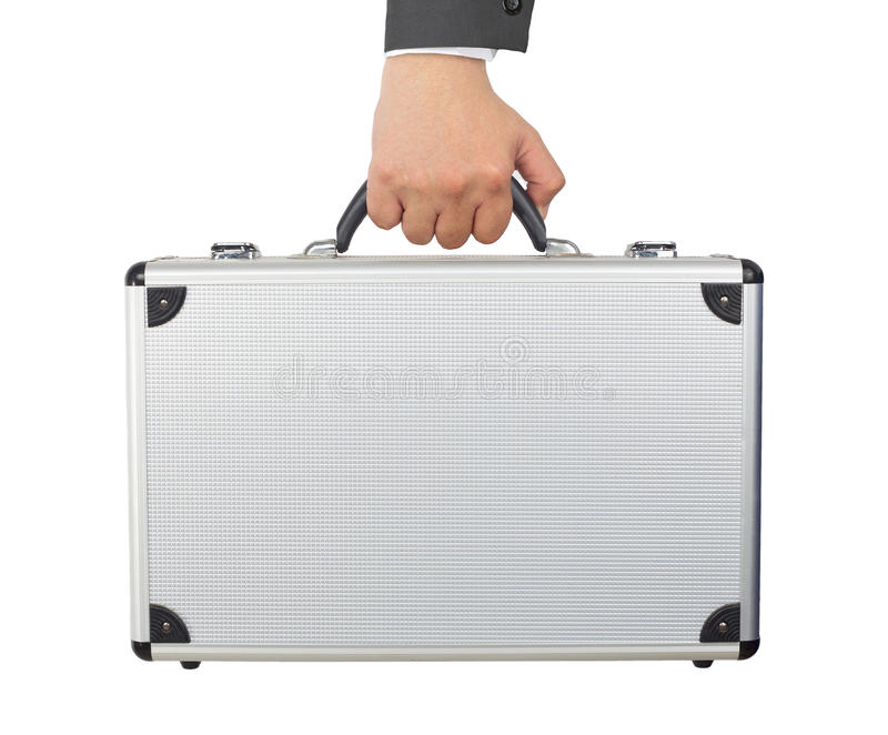 Hand en wapen zilveren bagage of kort die geval houden die op wh wordt geïsoleerd stock foto's