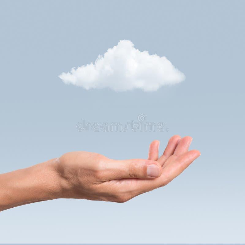 Hand en wolk royalty-vrije stock afbeelding