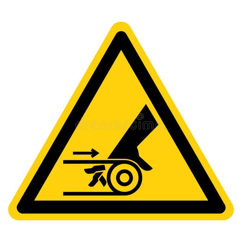 Hand Entanglement Belt Drive Symbol Sign Isolate On White Background,Vector Illustration. Above, accident, area, blade, chain, cog, cogwheel, crush, cut stock illustration