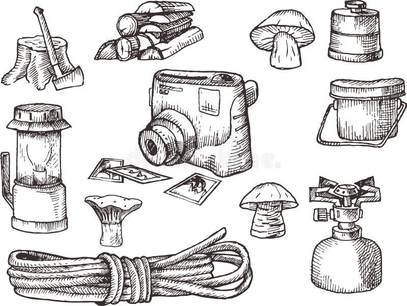 Hand ertrinken Ausrüstung, Satz des Wanderns, kampierende Ausrüstung, Schwarzweiss--, gescannte Illustration lizenzfreie abbildung
